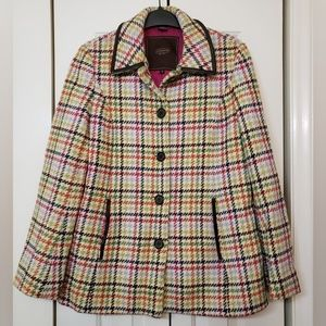 Coach Tattersall Wool Pea Coat Sz Small